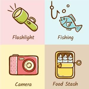 Iconos de acampada y actividades al aire libre