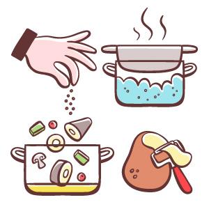 Iconos para instrucciones de cocina