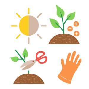 Iconos a color para el cuidado de las plantas