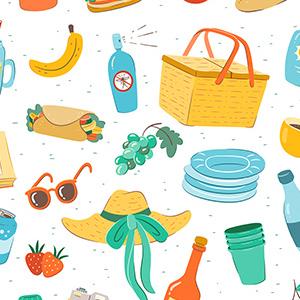 Estampado de elementos para llevar a un picnic