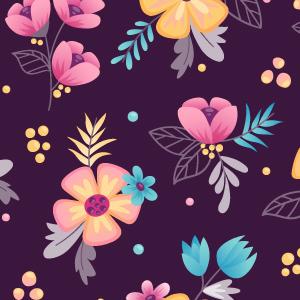 Estampado de flores con fondo oscuro