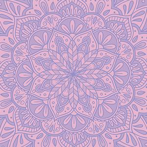 Estampado violeta con mandala rosa