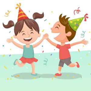 Niños con globos y confeti saltando y riendo