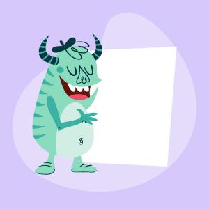 Monstruo turquesa con tarjeta