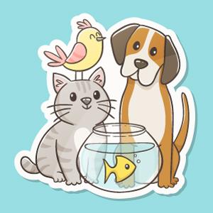 Pegatina con mascotas