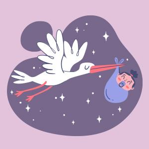 Cigüeña llevando un bebé