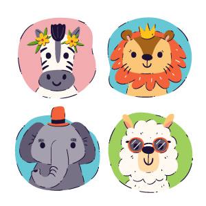 colección de avatares de animales
