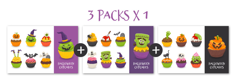 Packs de dibujos de cupcakes al precio de 1 solo pack
